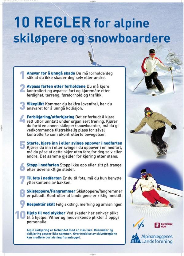 10.skivett regler for alpin og snowboard